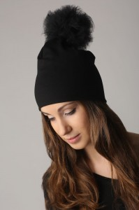 Beanie with a tulle pompom