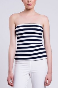 Jersey Top T063. Navy blue - white with wide stripes