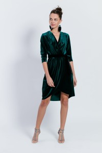 D108 velvet elegant envelope dress. Bottle green