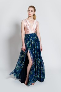Maxi silk skirt with jungle pattern S122